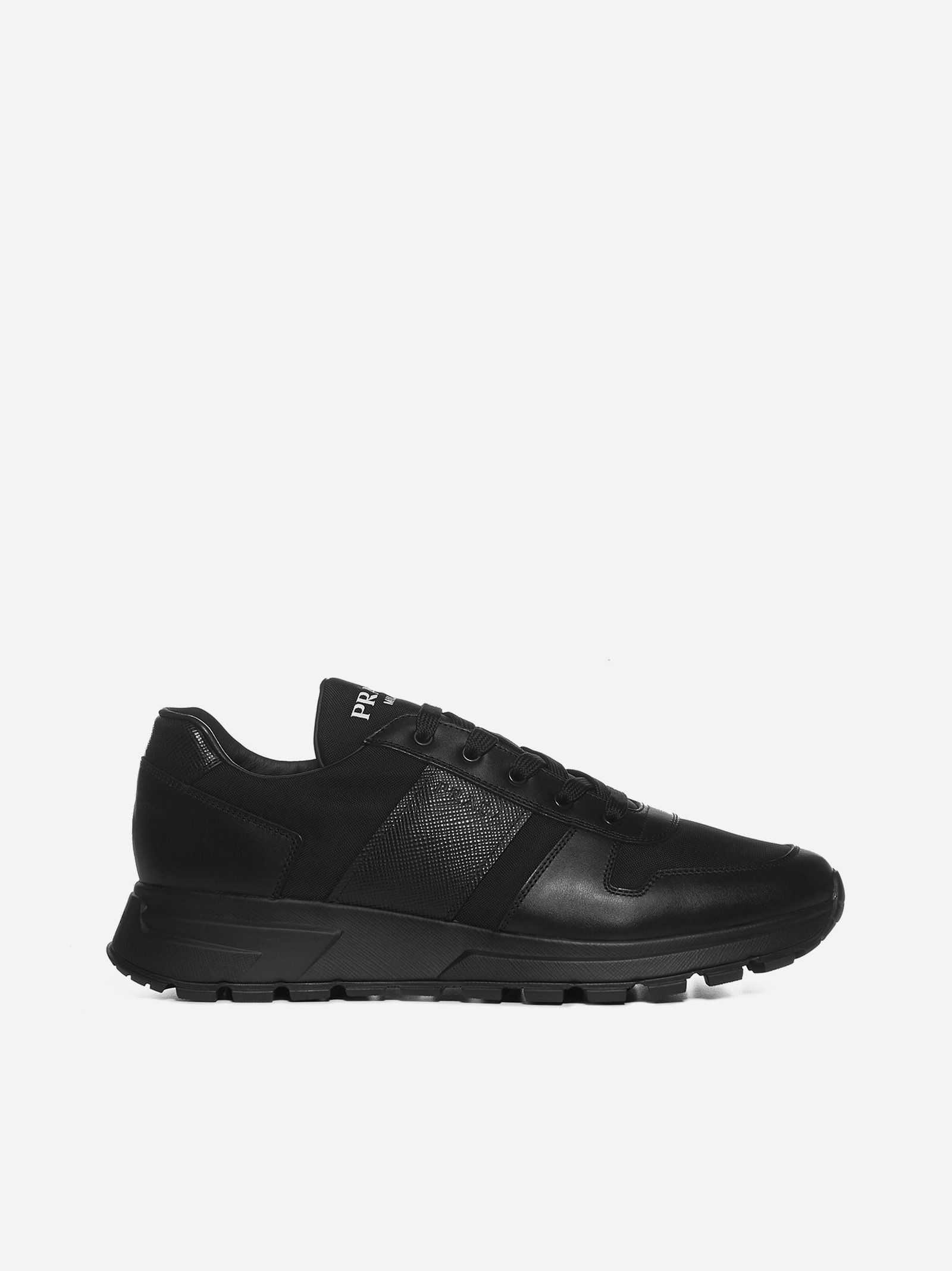 Prada Leathers PRAX 01 LEATHER AND MESH SNEAKERS