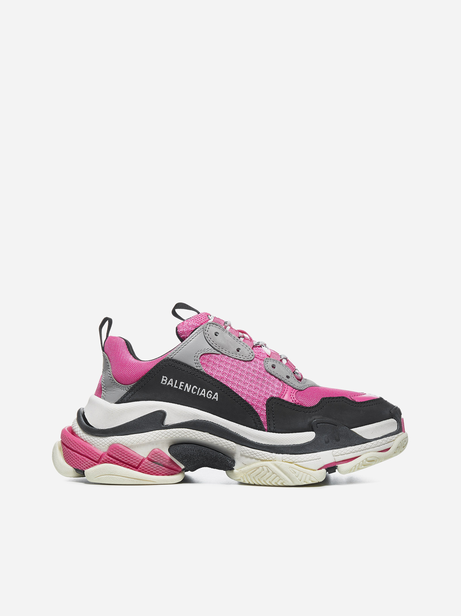 Balenciaga TRIPLE S LEATHER AND NYLON SNEAKERS