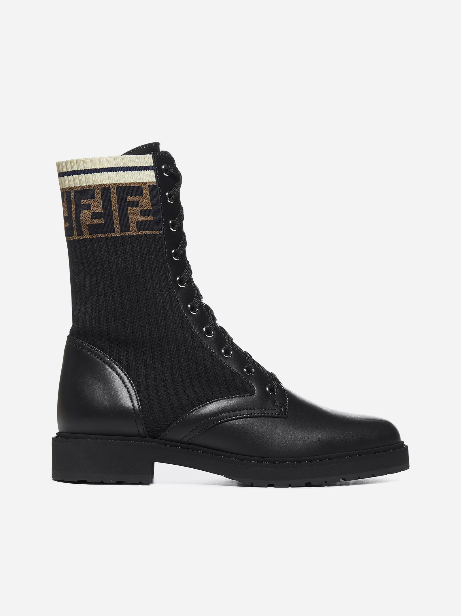 Fendi LEATHER AND FF FABRIC ANKLE BOOTS