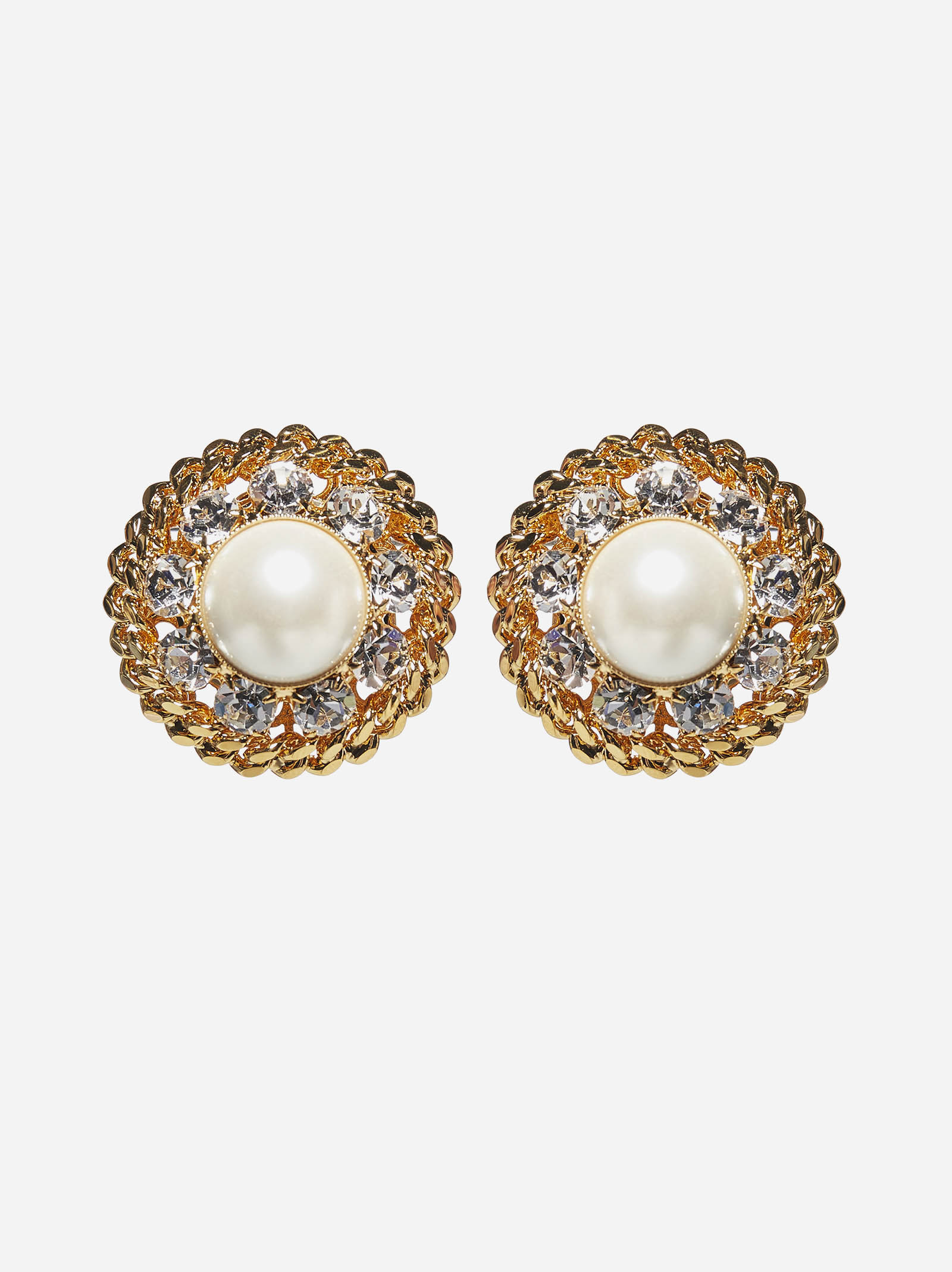 Alessandra Rich PEARL AND CRYSTALS ROUND EARRINGS