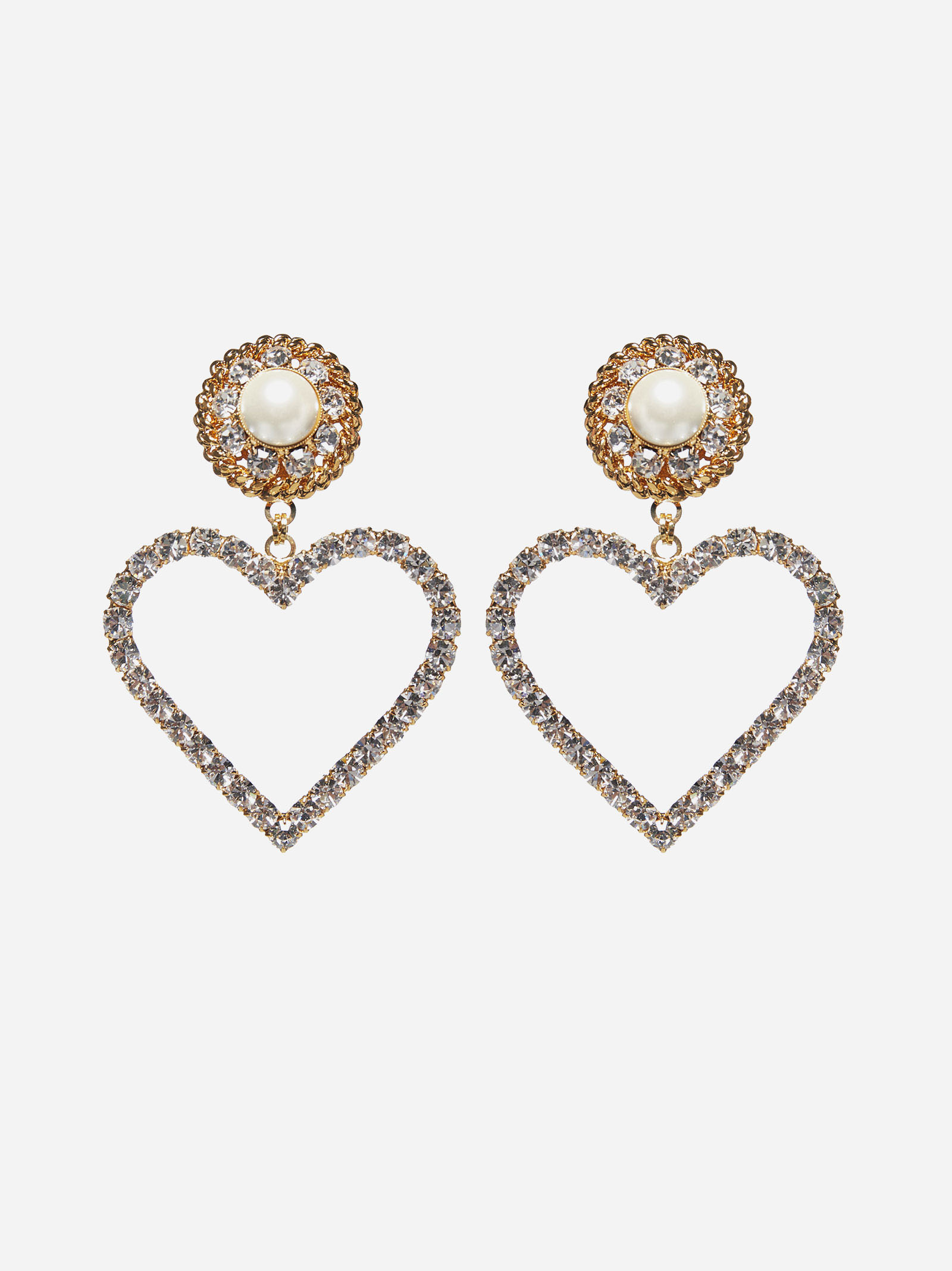 Alessandra Rich PEARL AND CRYSTALS HEART EARRINGS