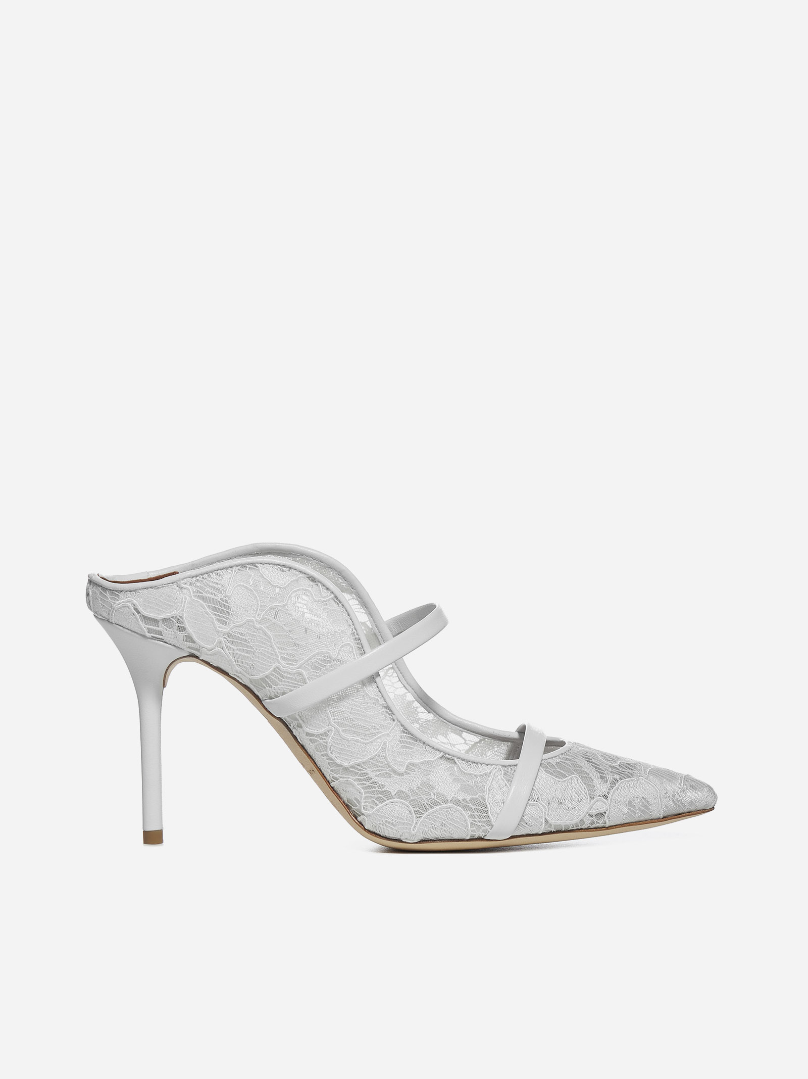 Malone Souliers MAUREEN 85 LACE AND LEATHER MULES
