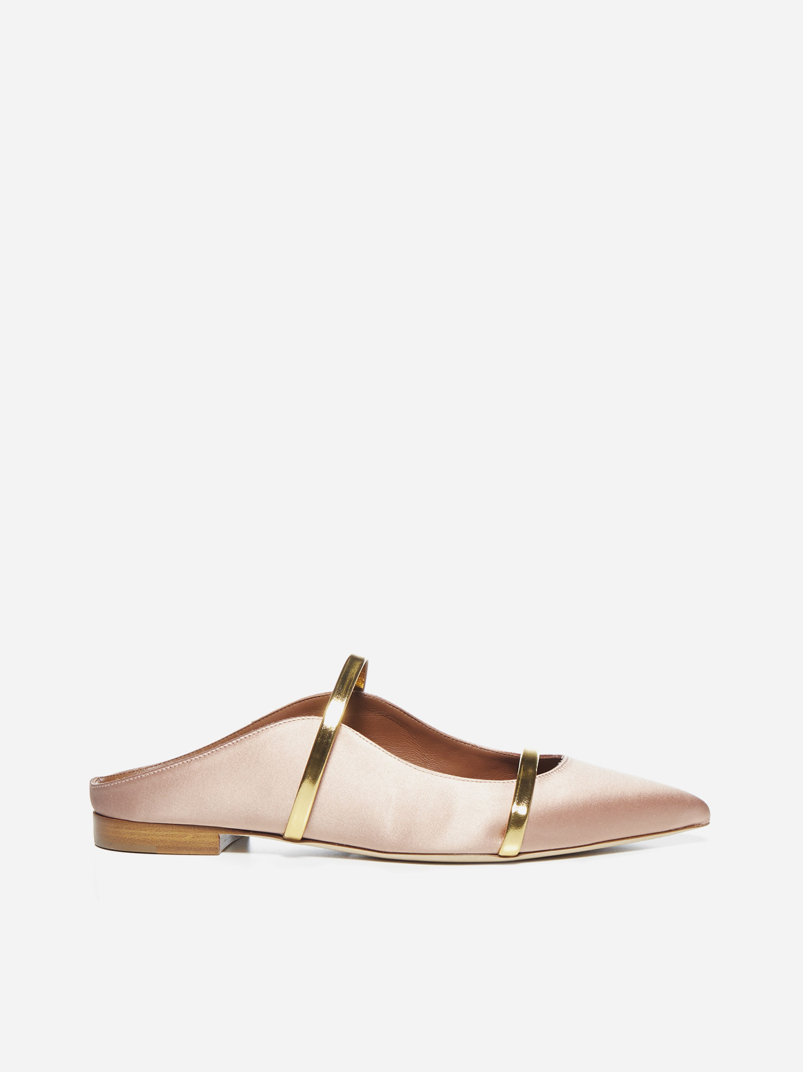 Malone Souliers MAUREEN SATIN AND PATENT LEATHER FLAT MULES