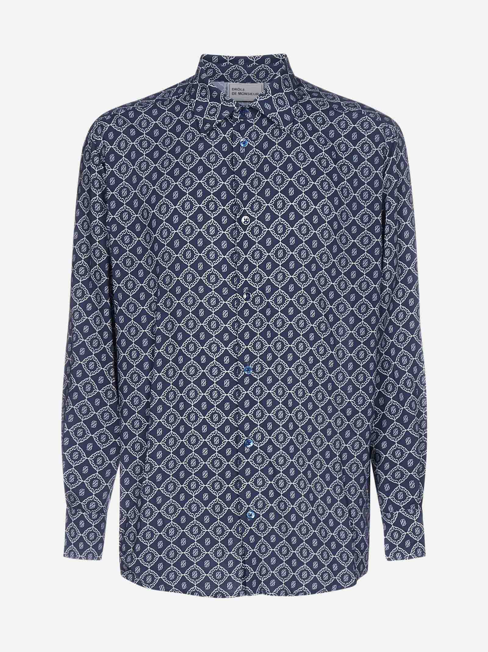 Drôle De Monsieur Shirts MONOGRAM PRINT VISCOSE SHIRT