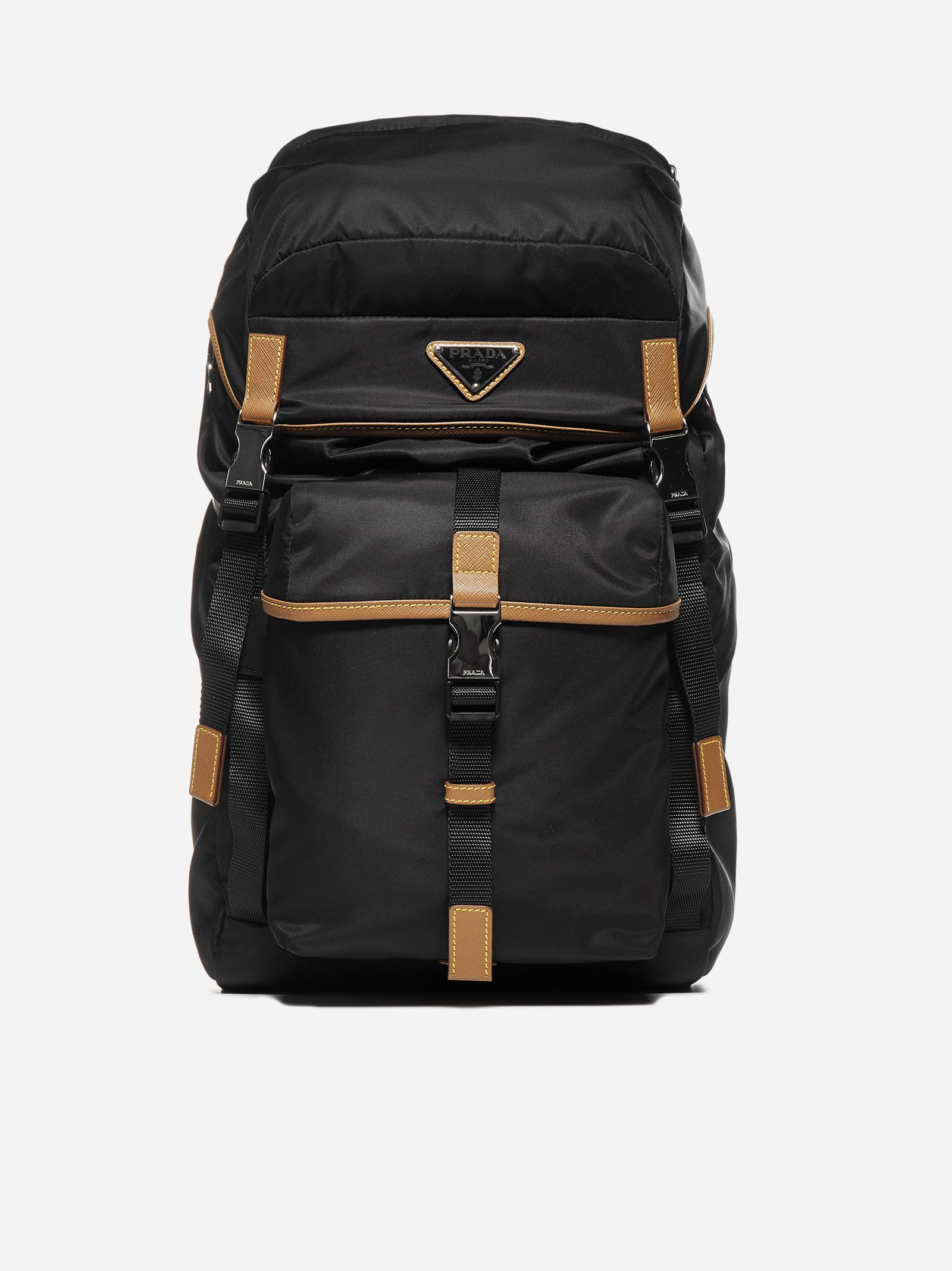 Leather-details nylon backpack