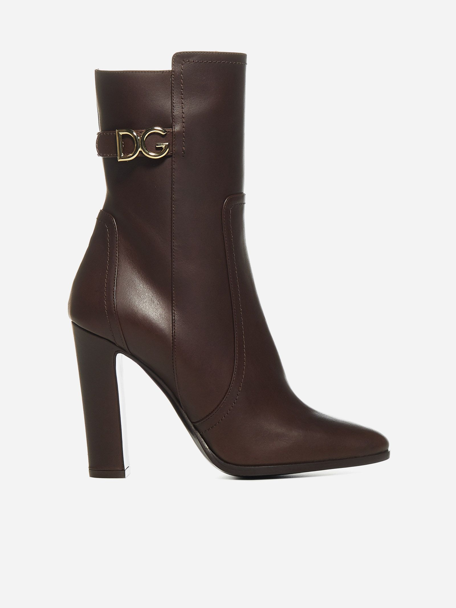 Logo Leather Ankle Boots