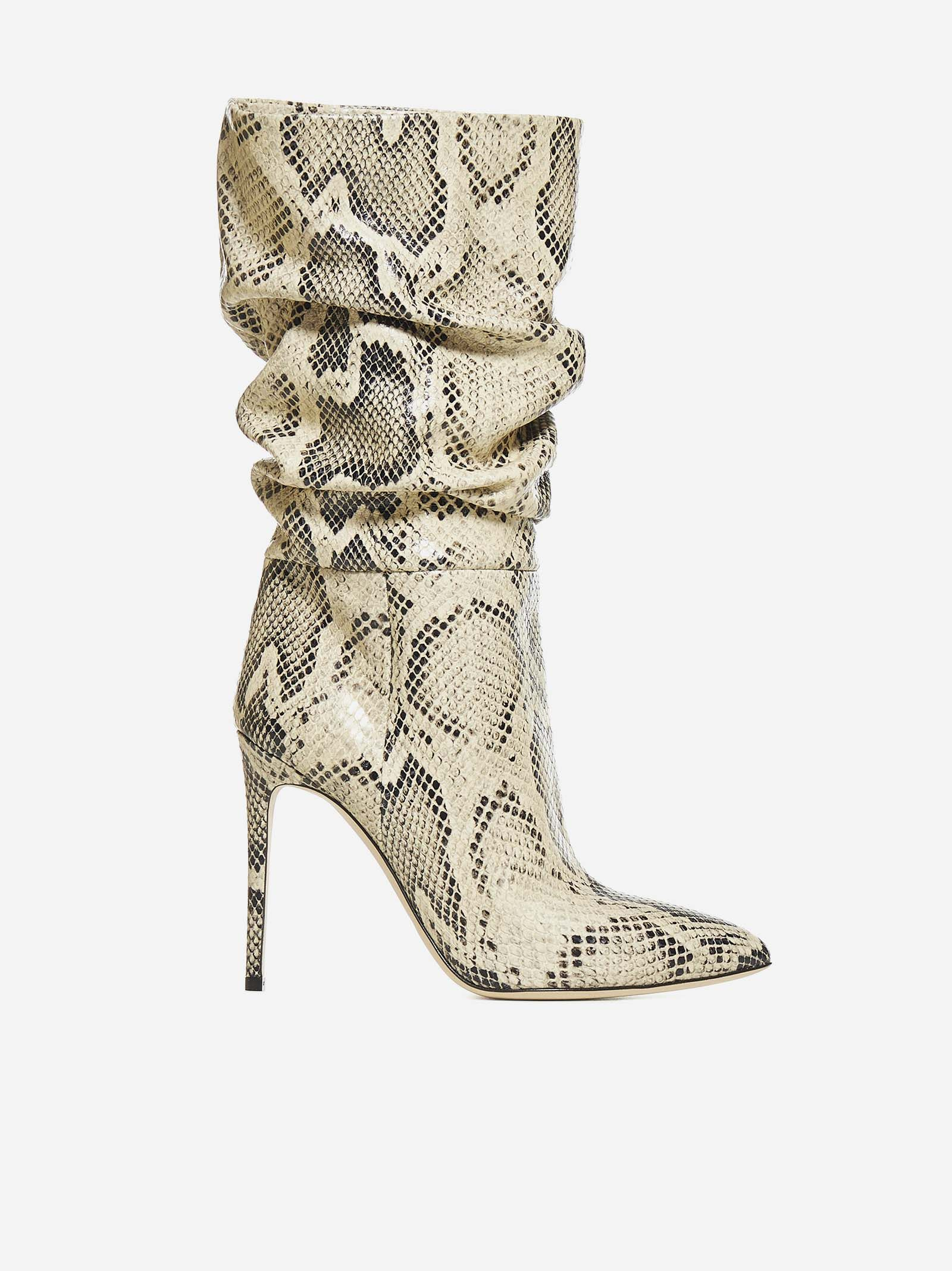 Animalier-effect Leather Boots