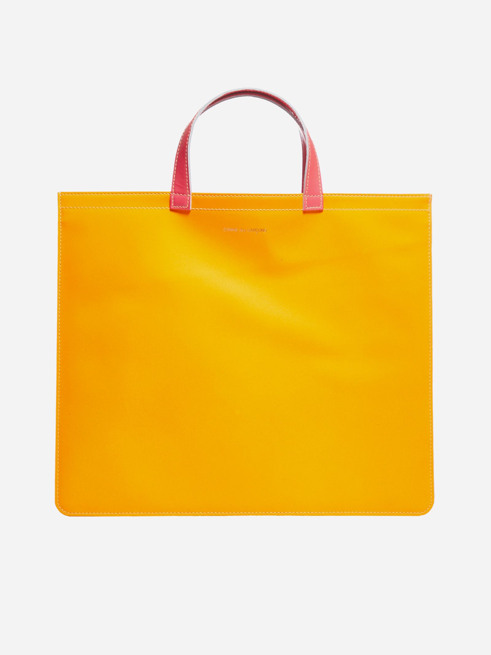 Bicolor leather tote bag
