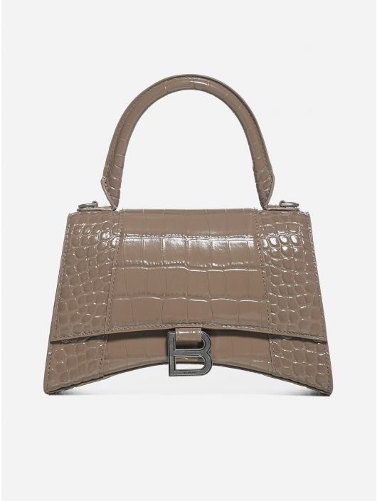 Hourglass Small crocodile-effect leather bag