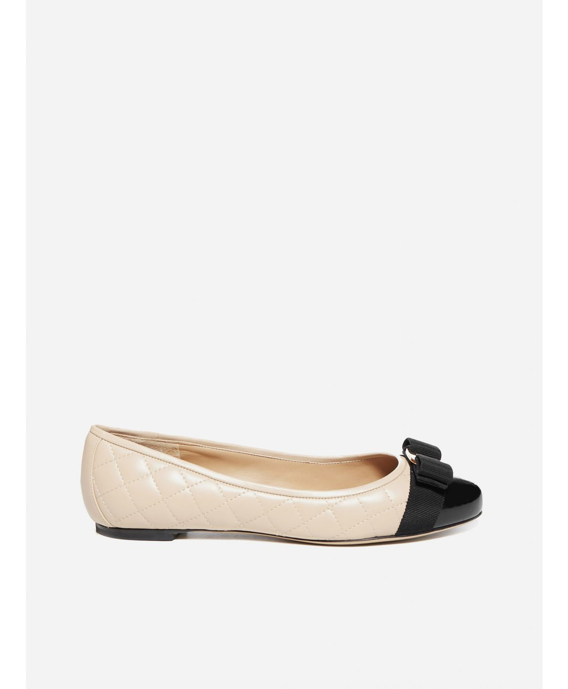 Varina quilted leather and patent leather ballet flats
