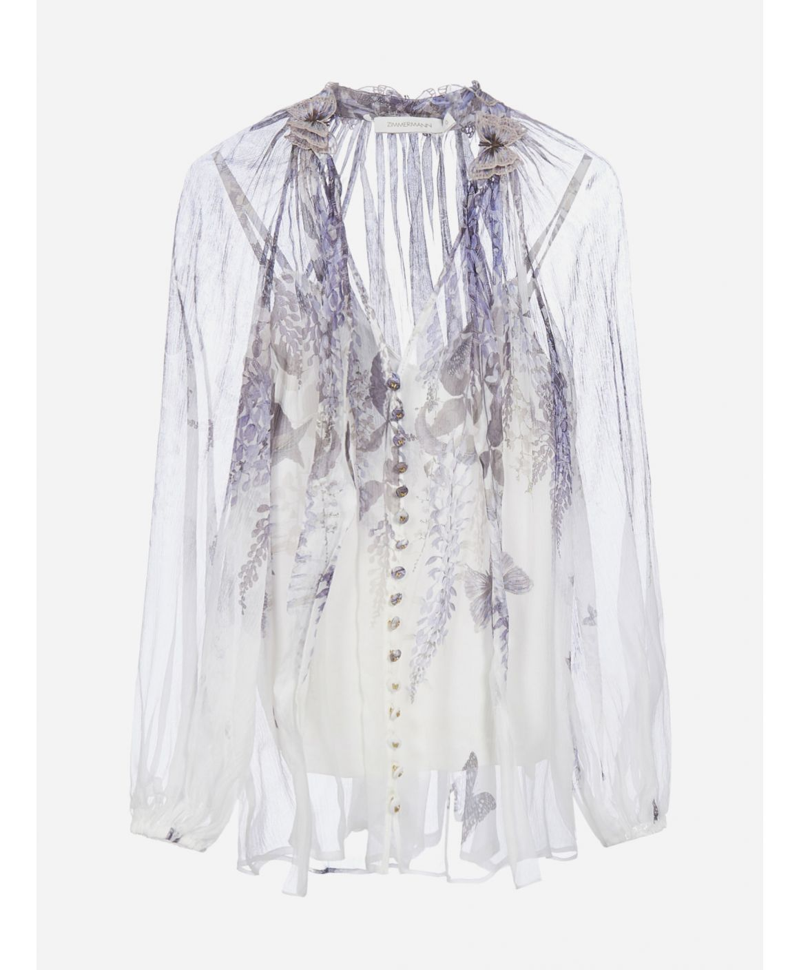 Luminous Lantern print silk blouse