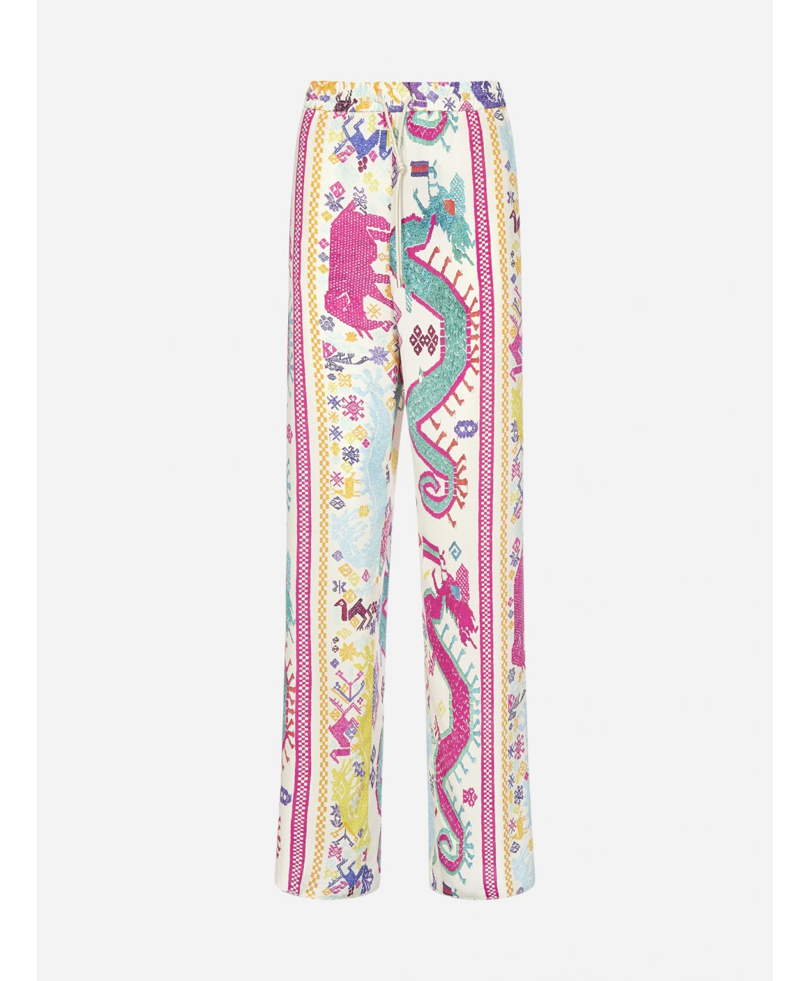 Creta ethnic print silk trousers