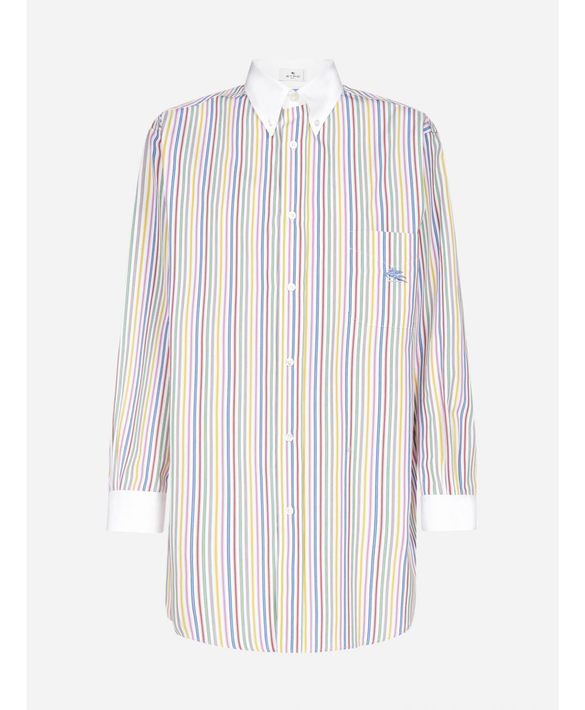 Logo striped cotton oversized shirt