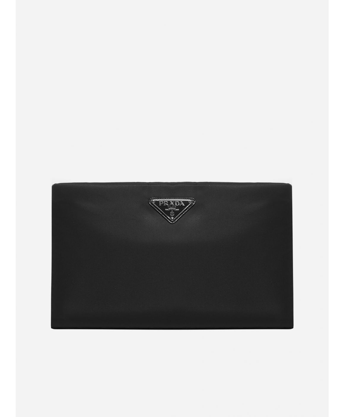 Logo-plaque padded nylon clutch bag