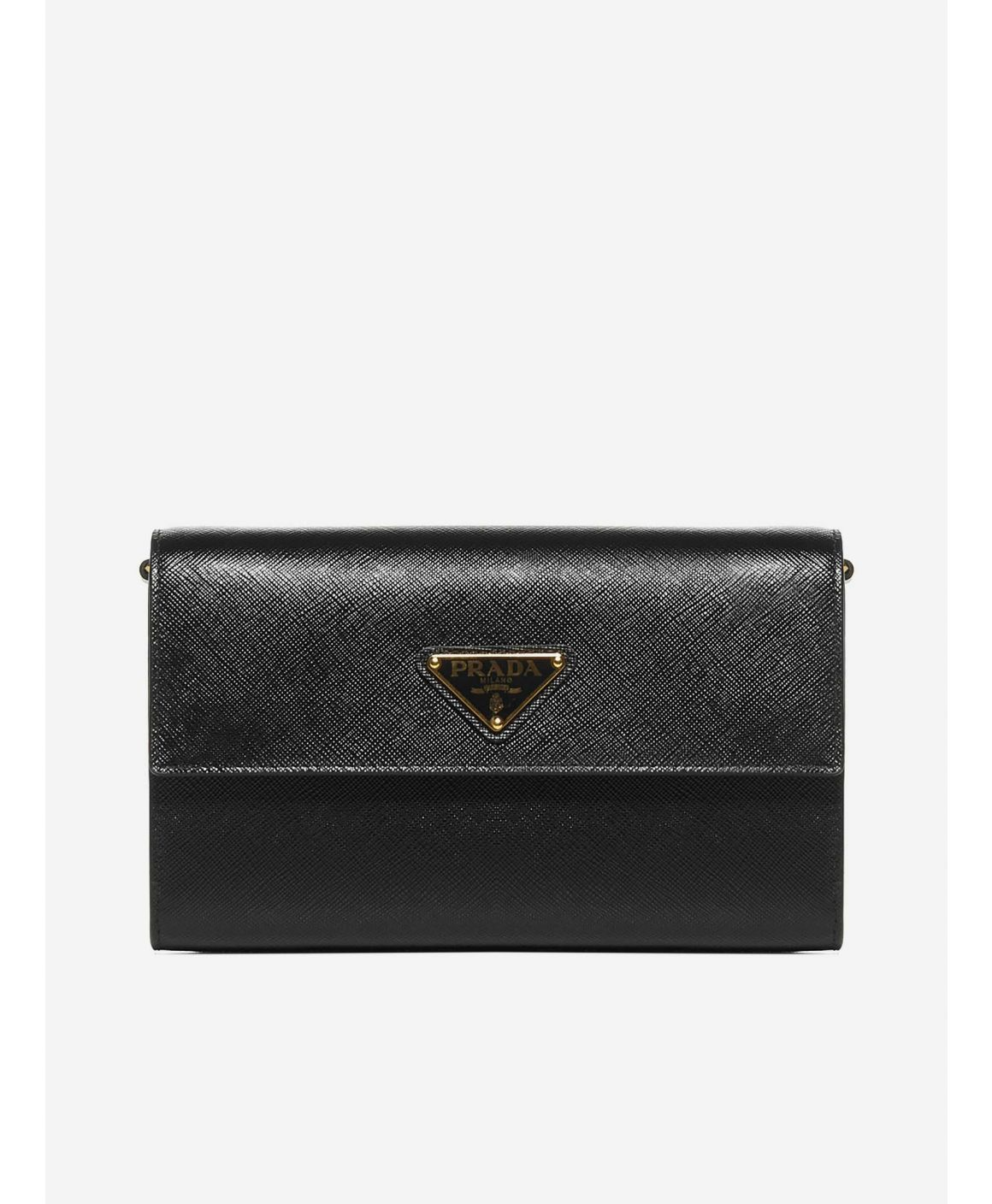 Logo-plaque Saffiano leather clutch bag