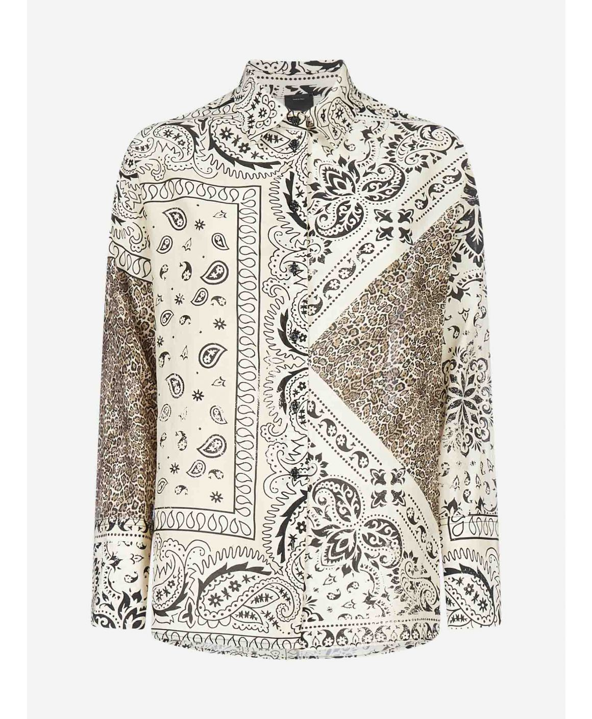 Fuoco print cotton and silk shirt