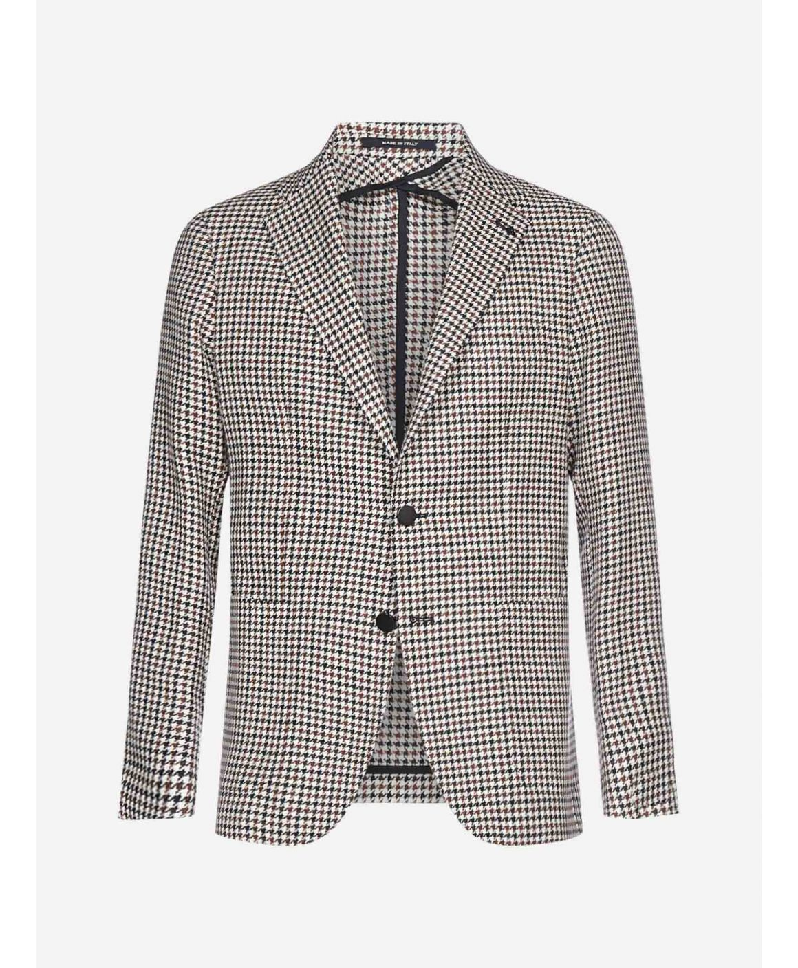 Houndstooth-motif cotton and linen blazer