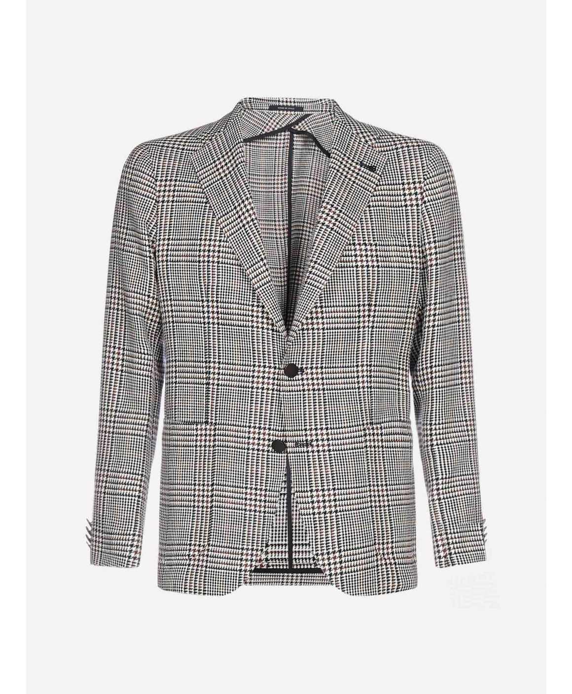 Prince of Wales-motif cotton and linen blazer