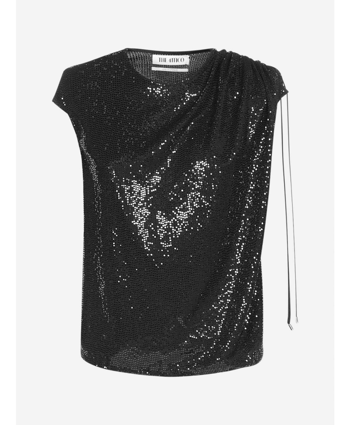 Sequins padded shoulders top