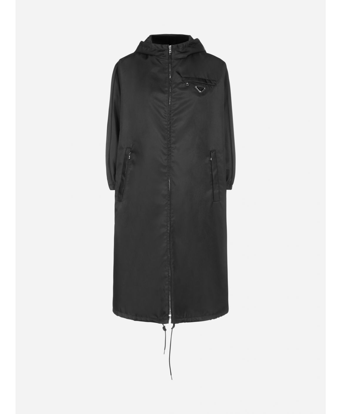 Logo-plaque hooded Re-Nylon raincoat
