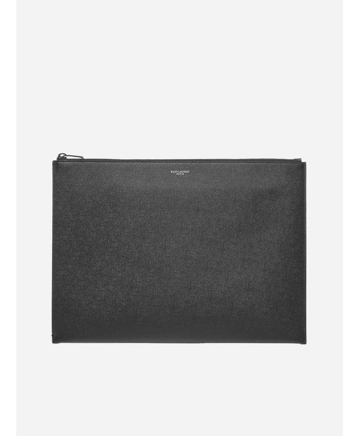 Logo large leather clutch