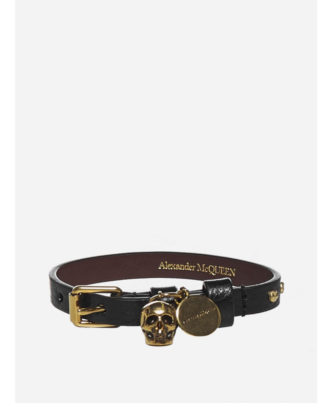 Skull and logo studded leather bracelet