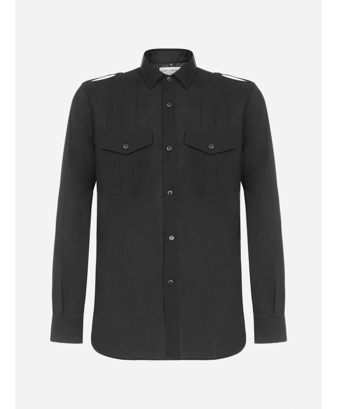 Military-style wool shirt