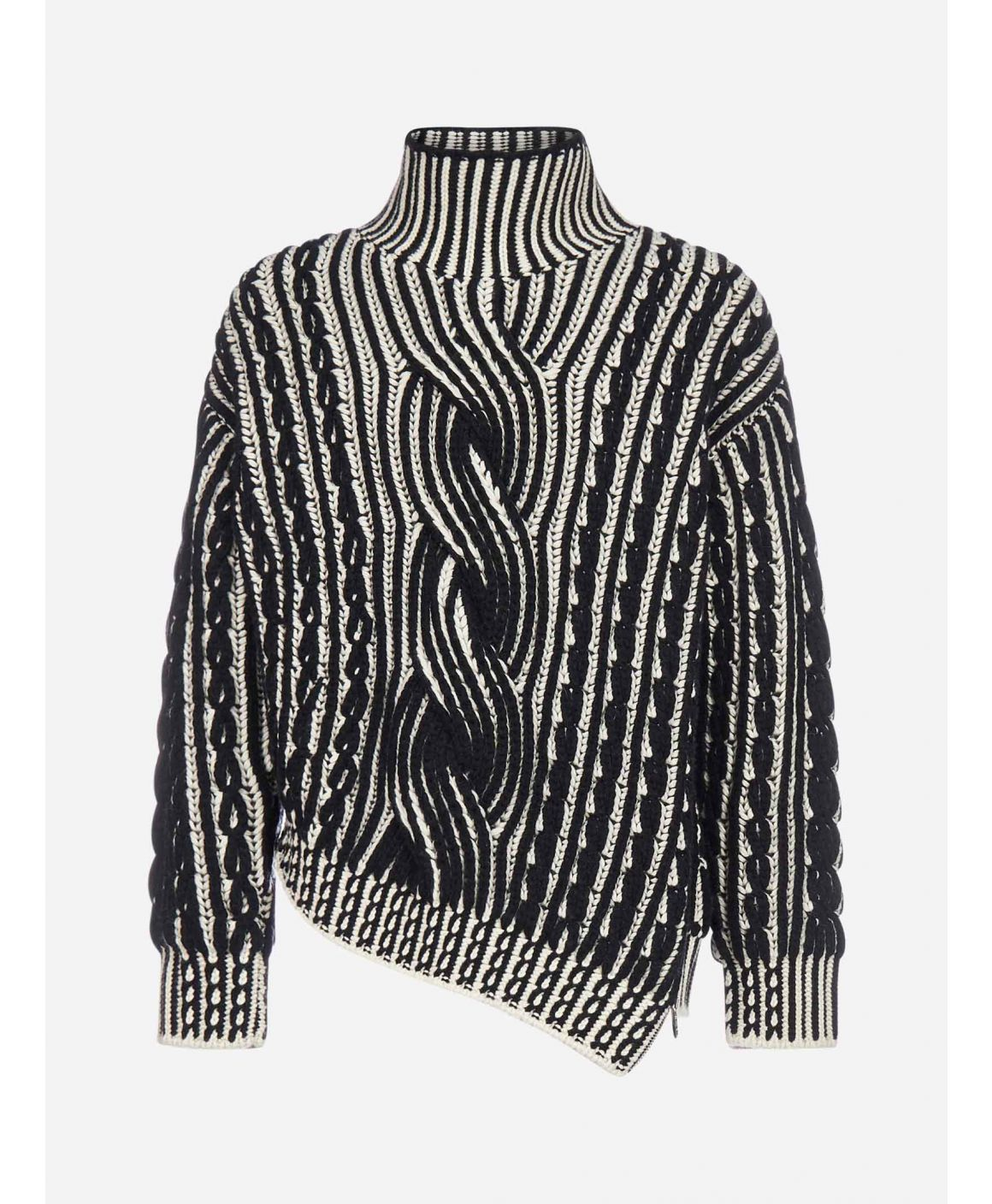 Asymmetric cable-knit wool and cashmere turtleneck