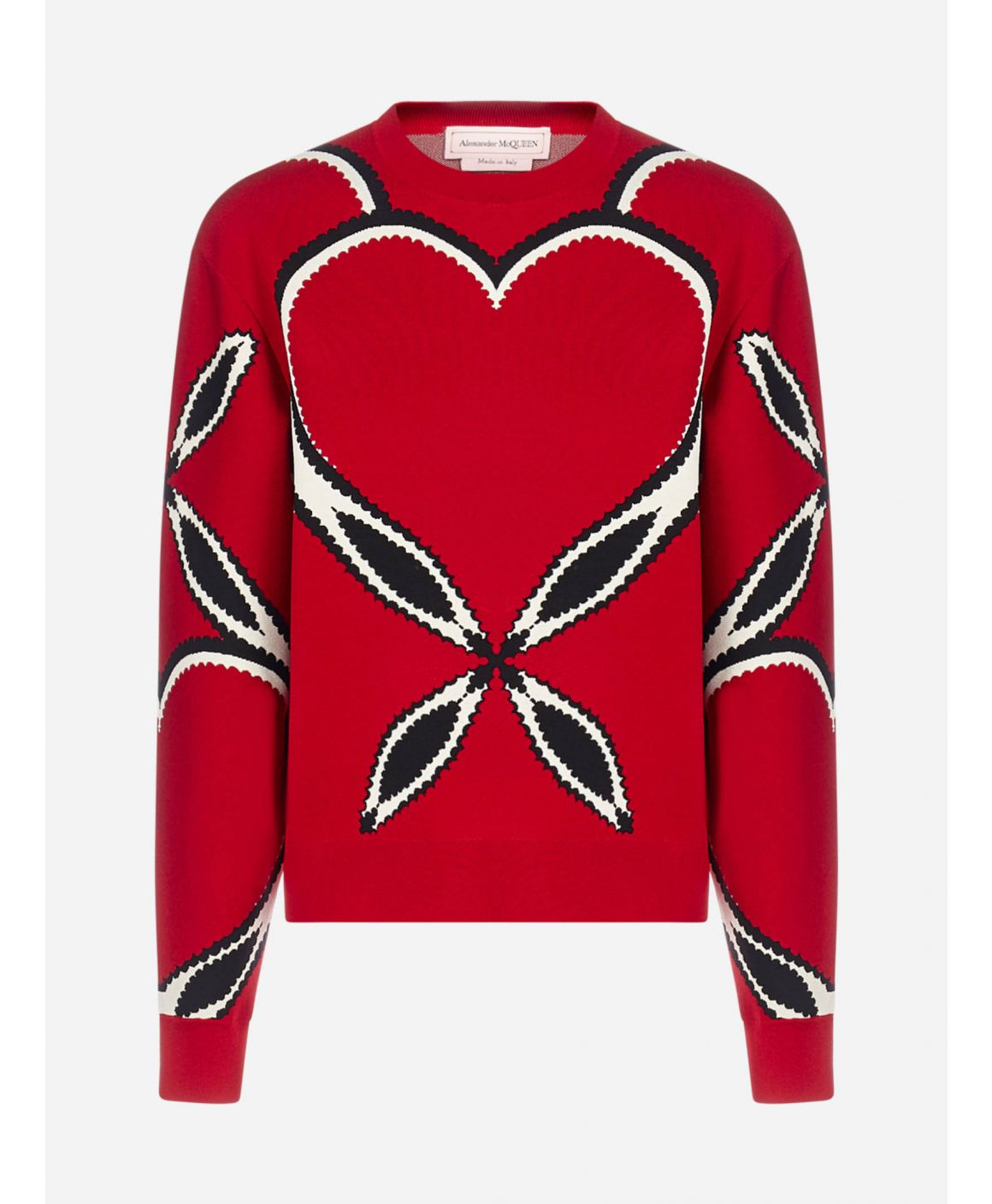 Heart-motif intarsia viscose-knit sweater