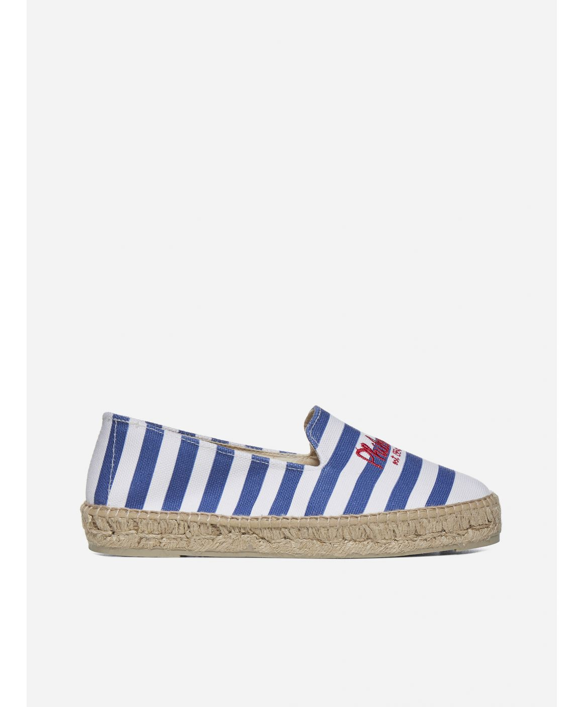 Logo striped cotton espadrilles