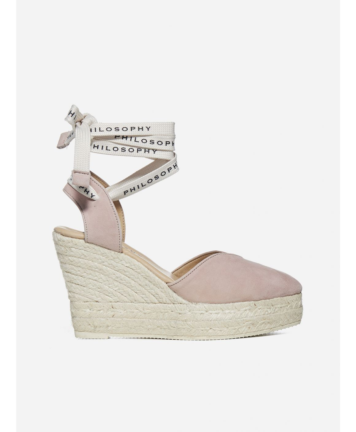 Logo suede wedge sandals