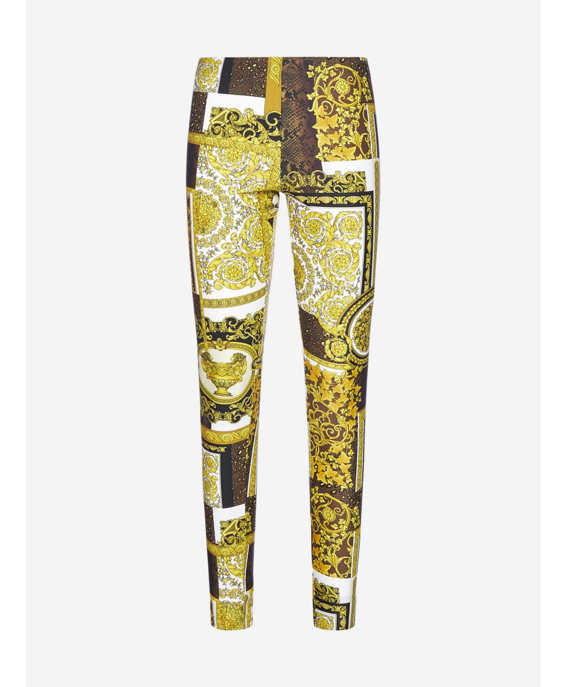 Barocco print pleated leggings