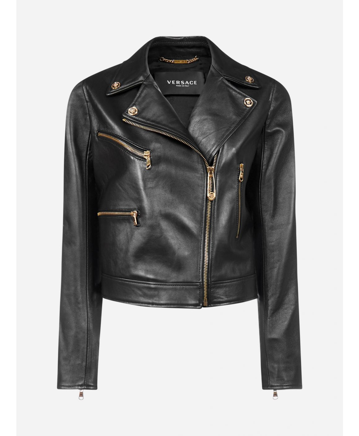Leather biker-style jacket