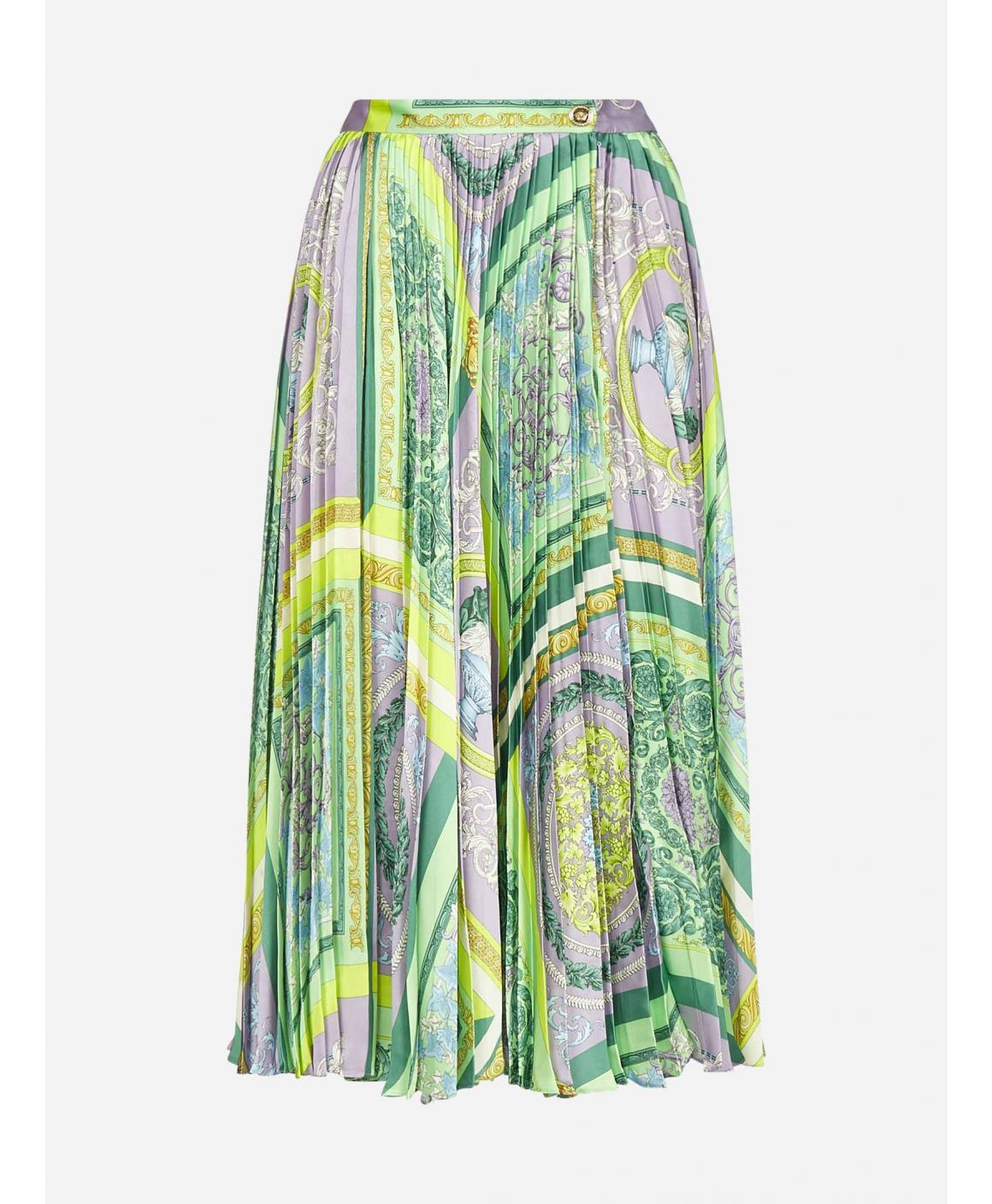 Barocco print pleated midi skirt