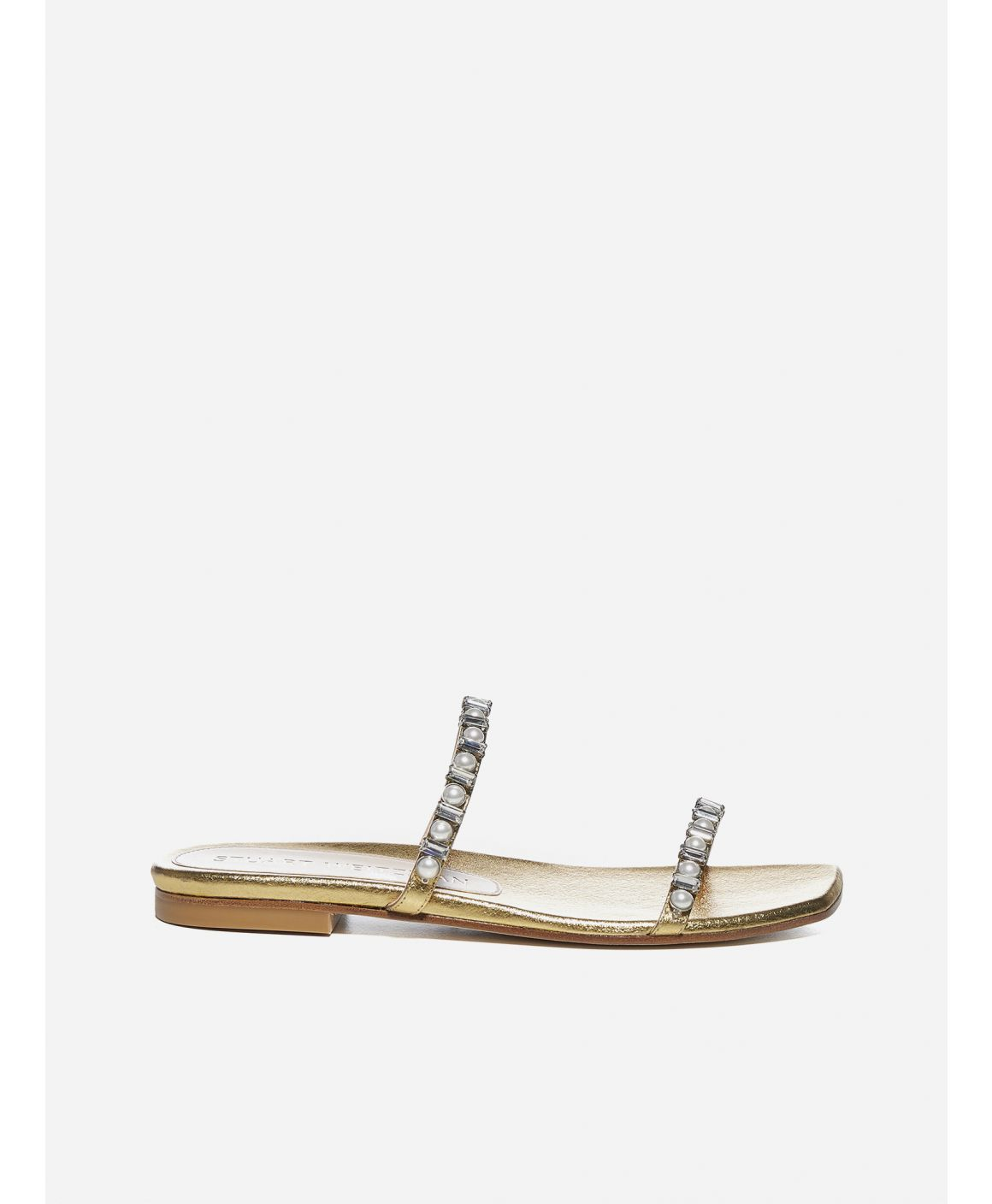 Aleena laminated nappa leather flat sandals