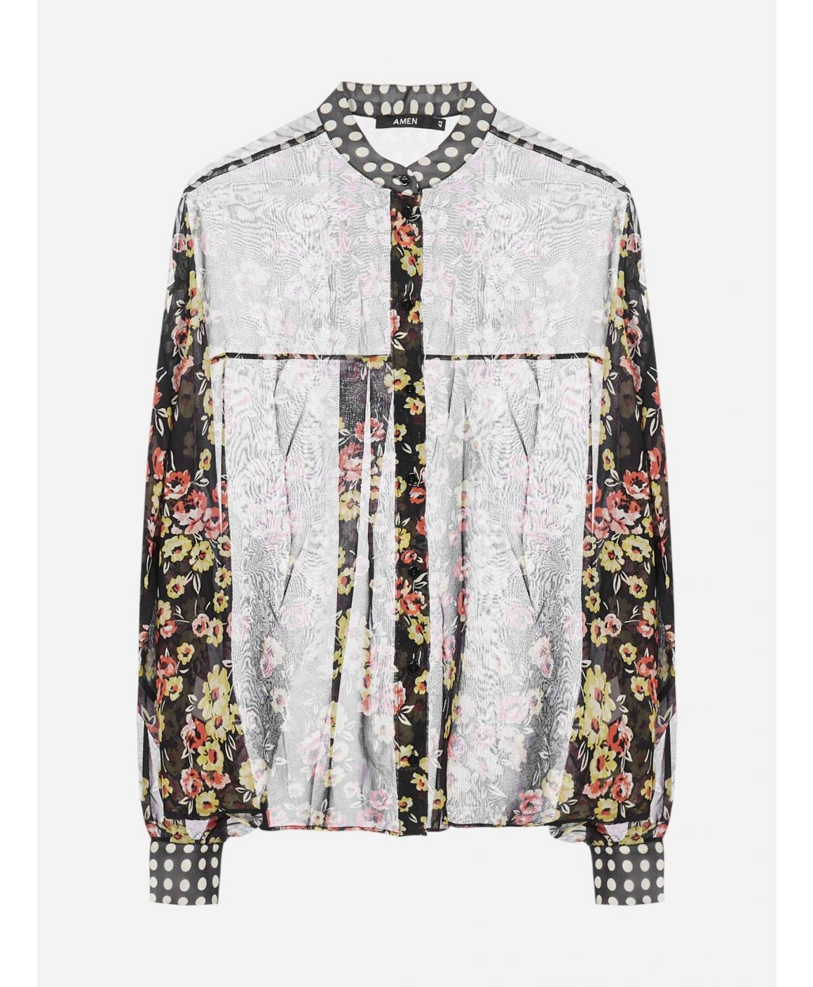 Floral and polka-dot printed silk shirt