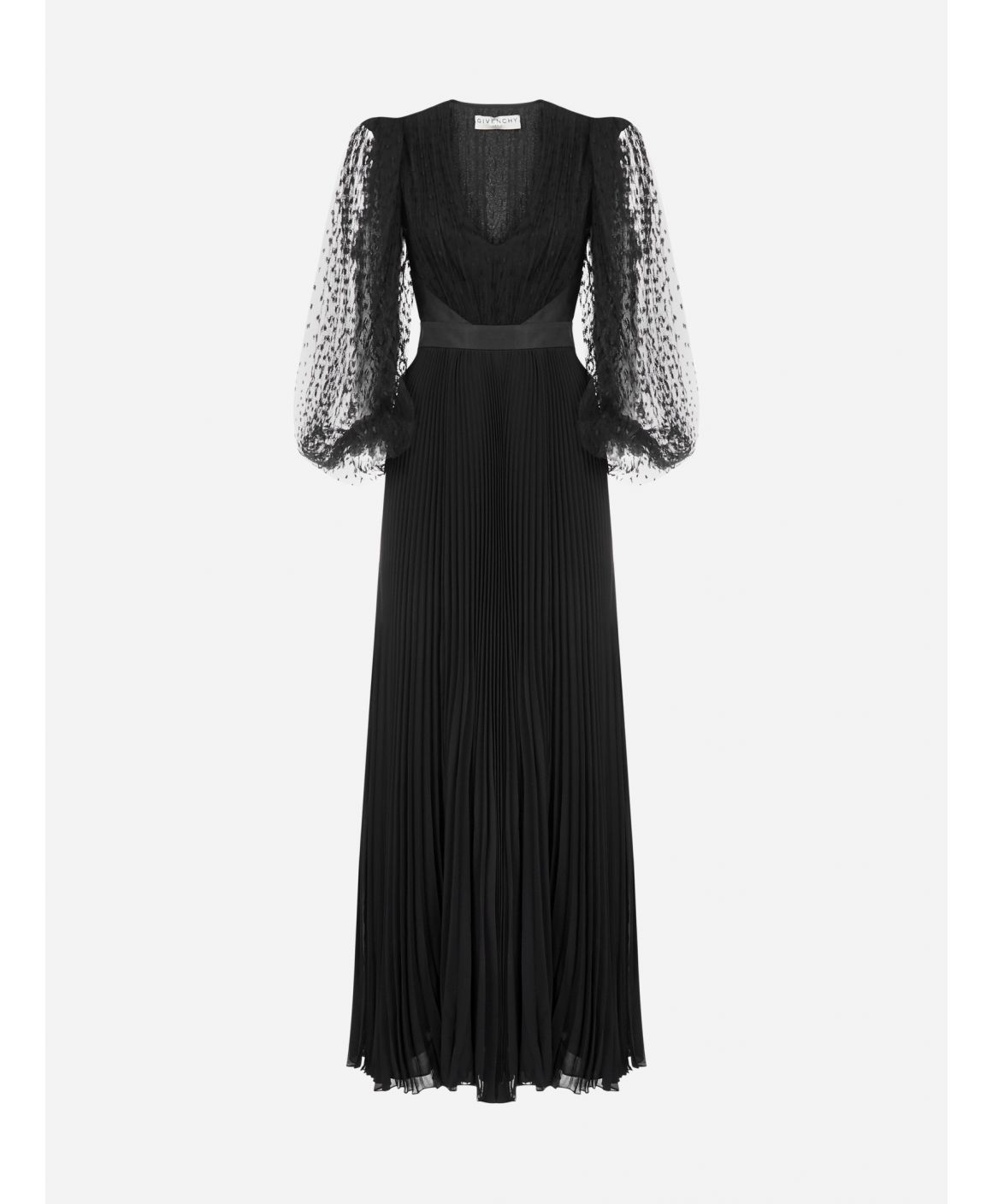 Pleated silk and lace evening dress