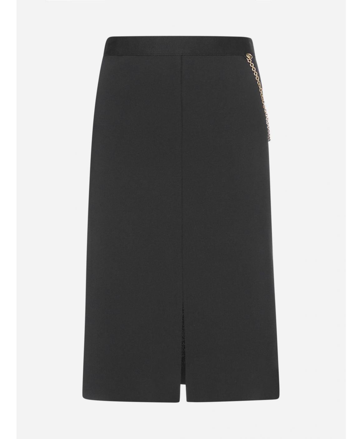 Chain-detail stretch knit skirt
