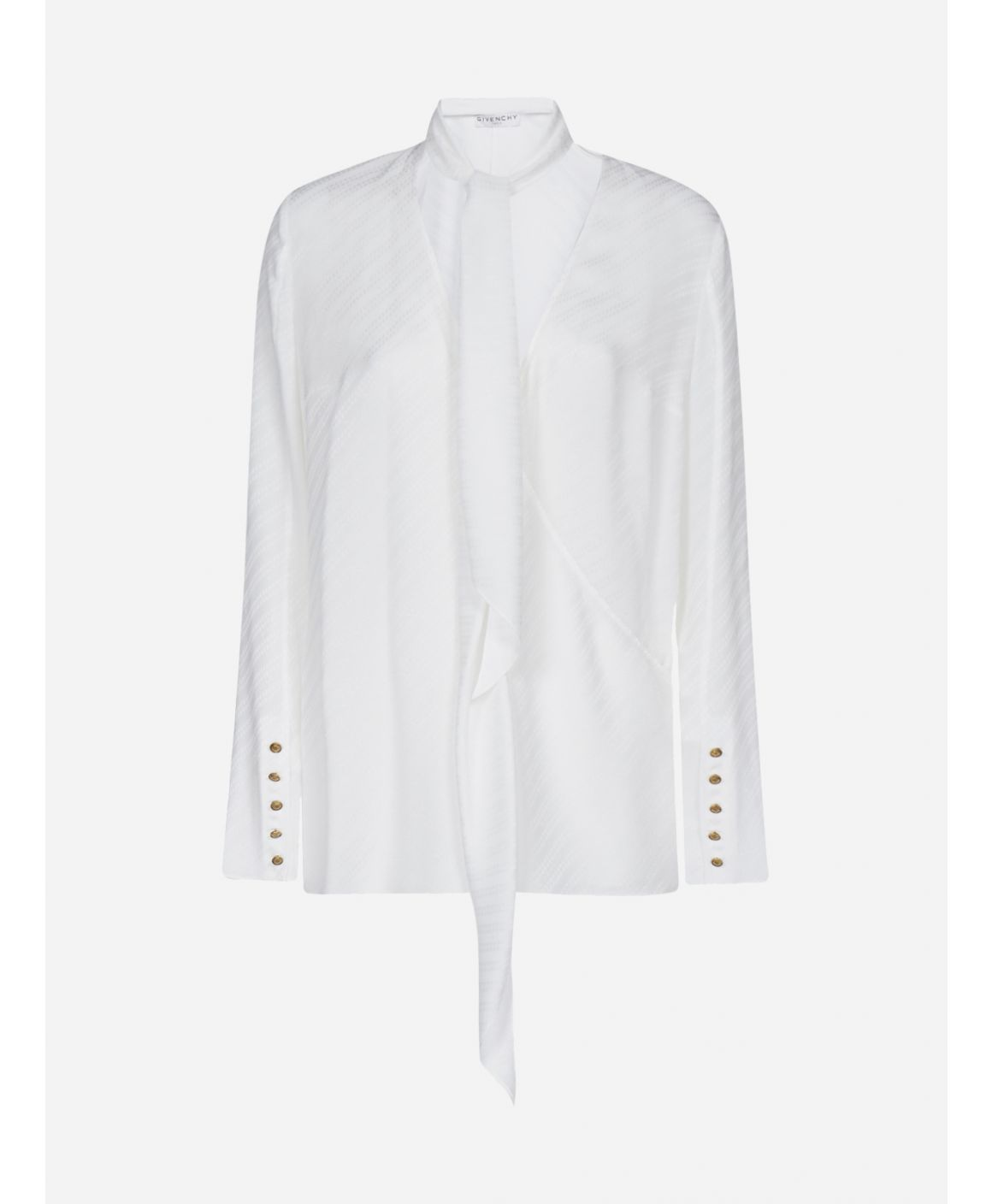 Pussy-bow neck silk jacquard blouse