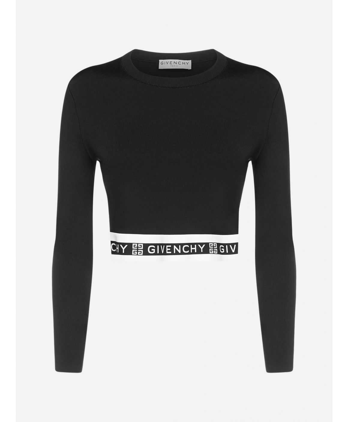 Logo-band stretch viscose cropped sweatshirt