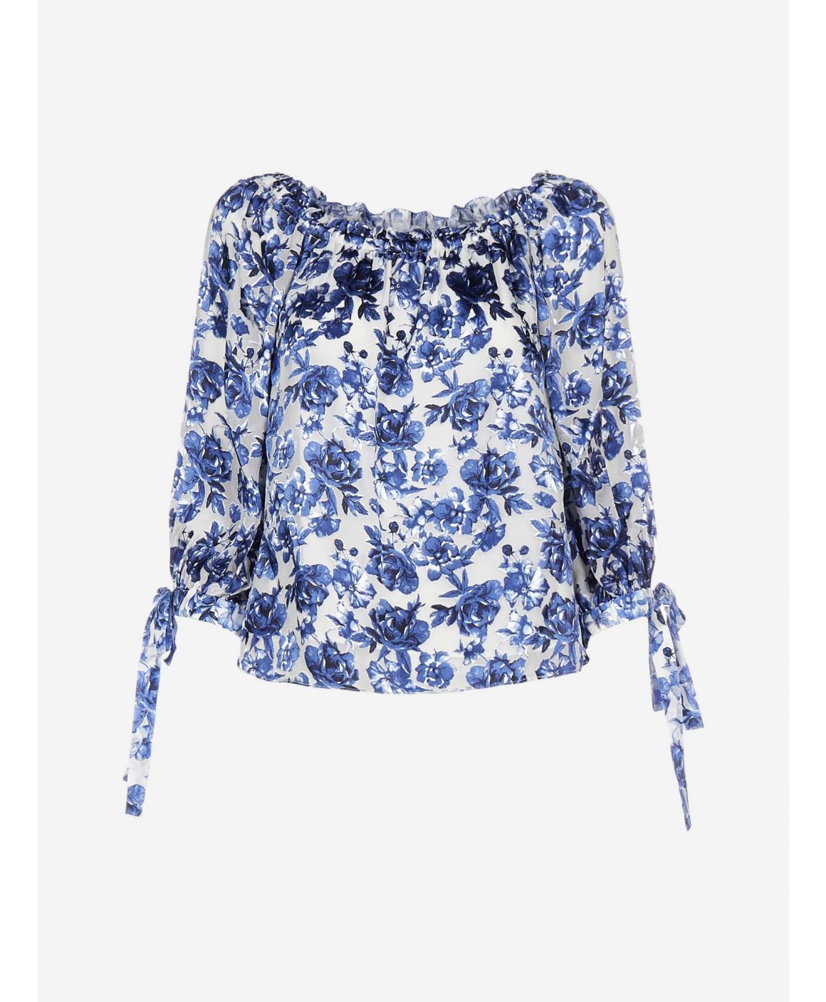 Alta floral print viscose and silk blouse