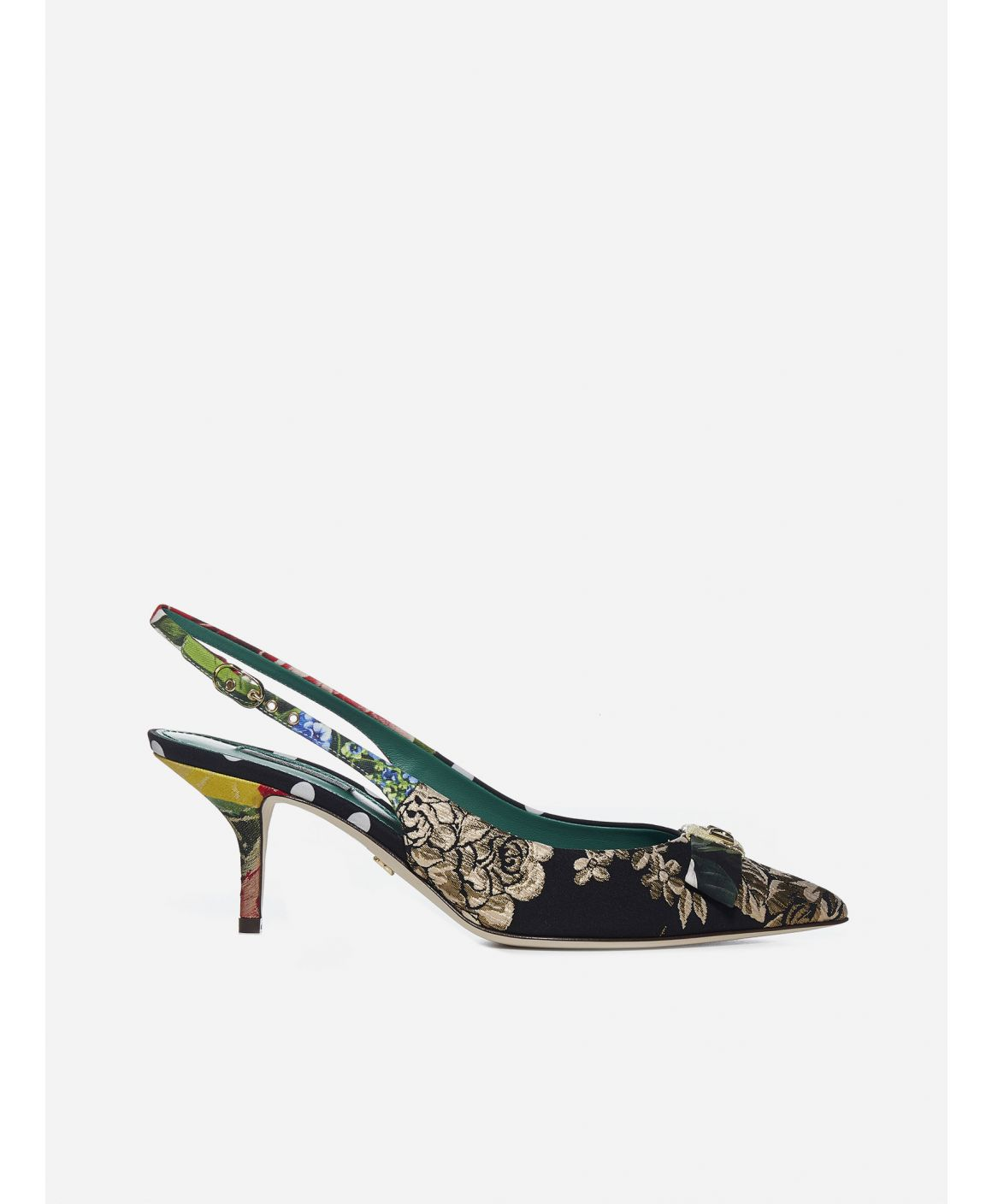 Patchwork fabric slingback pumps