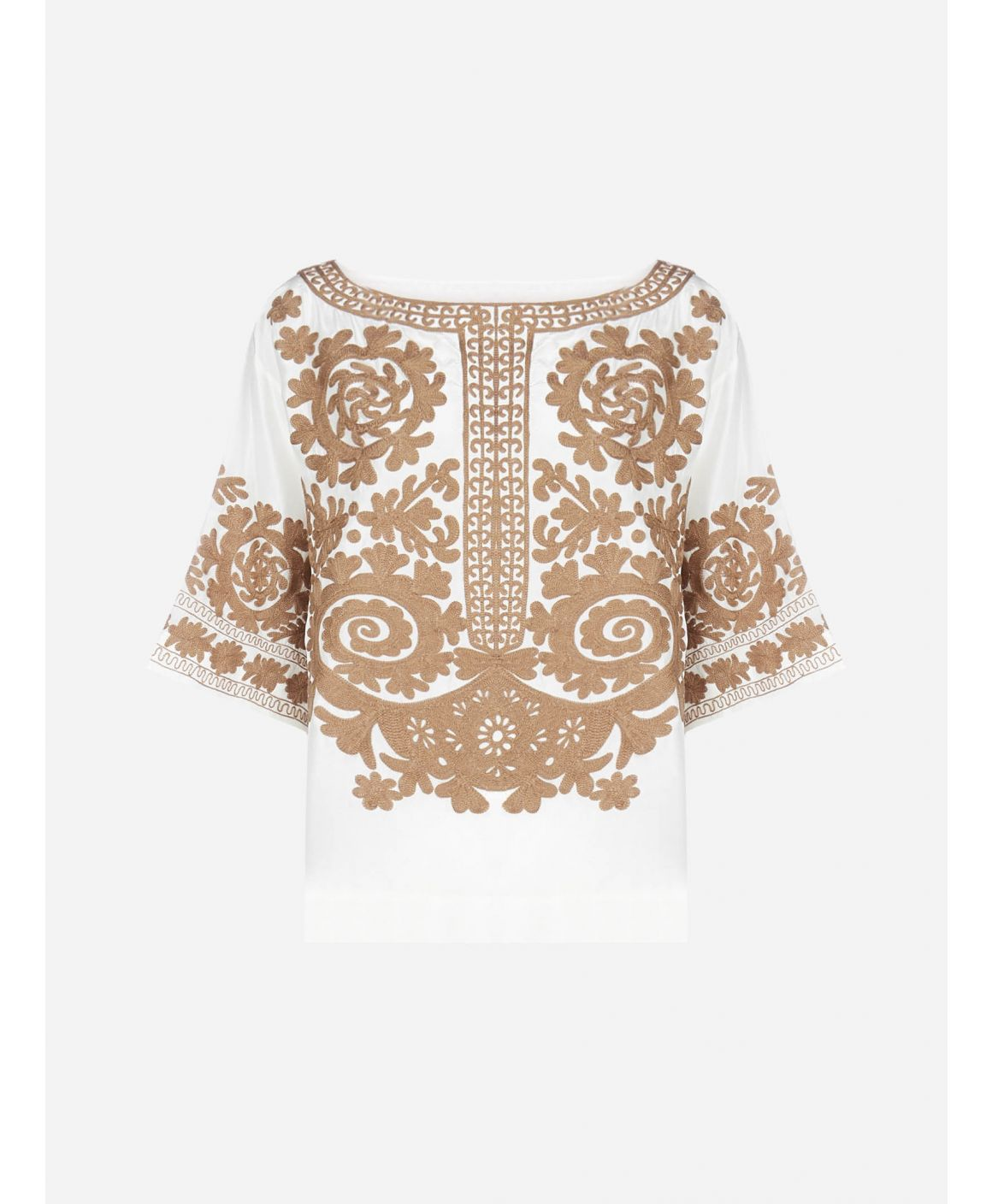 Sundried floral embroidery silk blouse