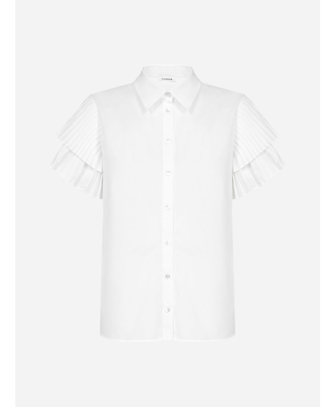 Pope pleated-sleeves cotton-blend shirt