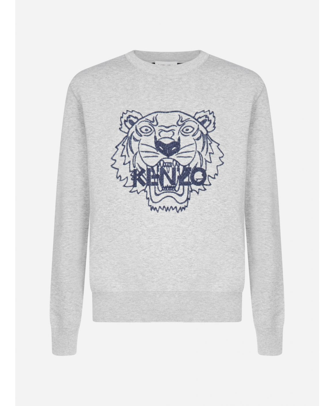 Logo-tiger wool and cotton sweater