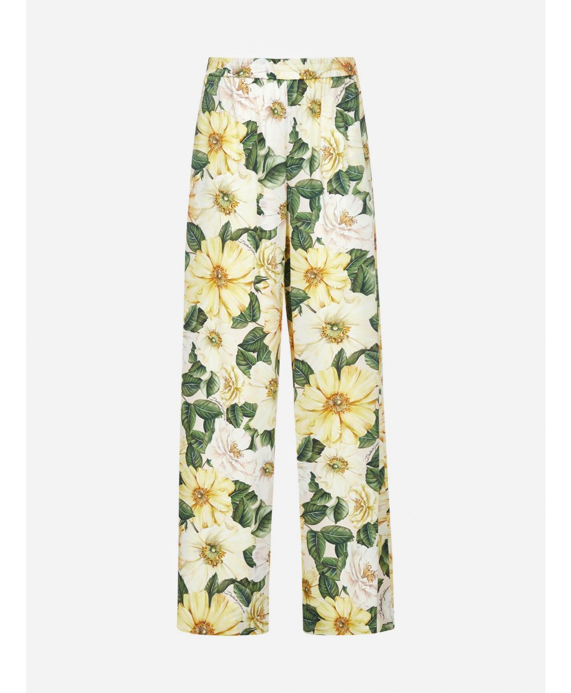 Camellias print silk trousers