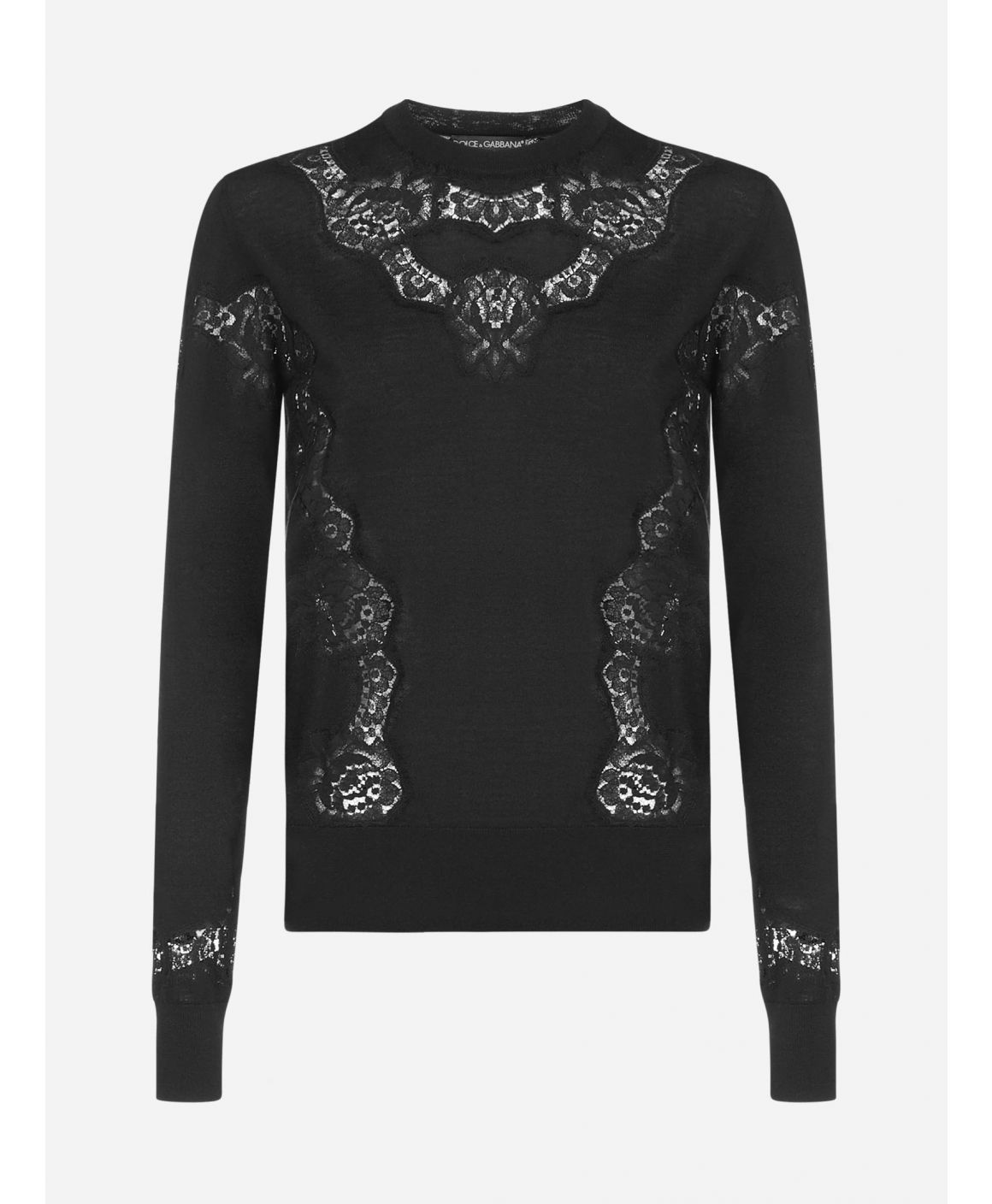 Lace-inserts cashmere-blend sweater