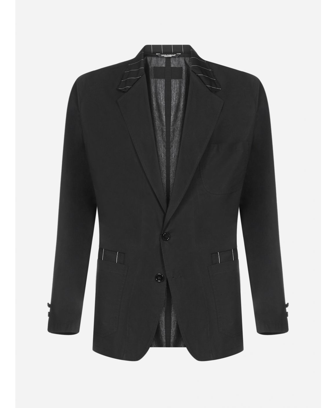 Cotton and wool mono-breasted blazer