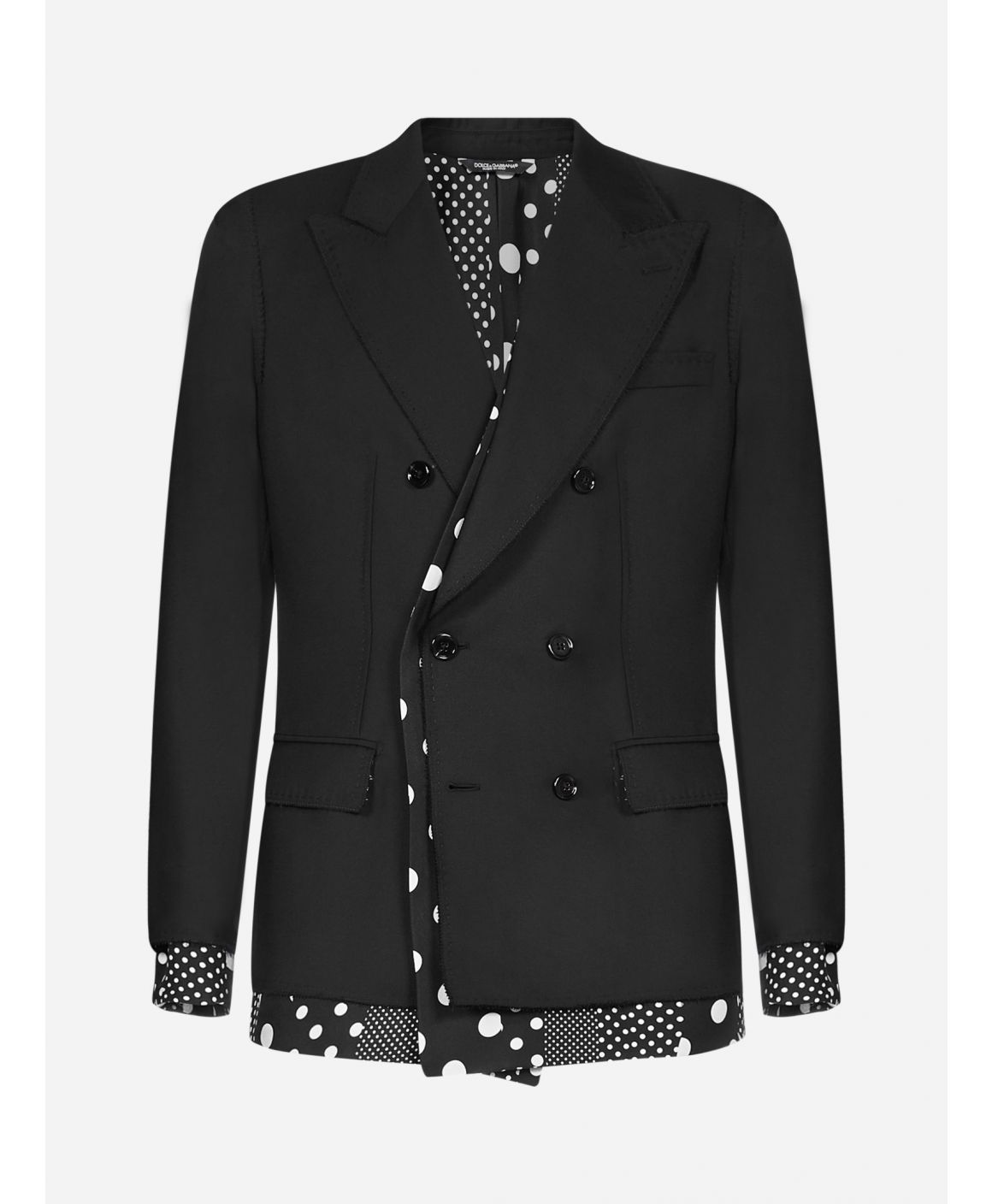 Polka-dot-panels wool and silk blazer