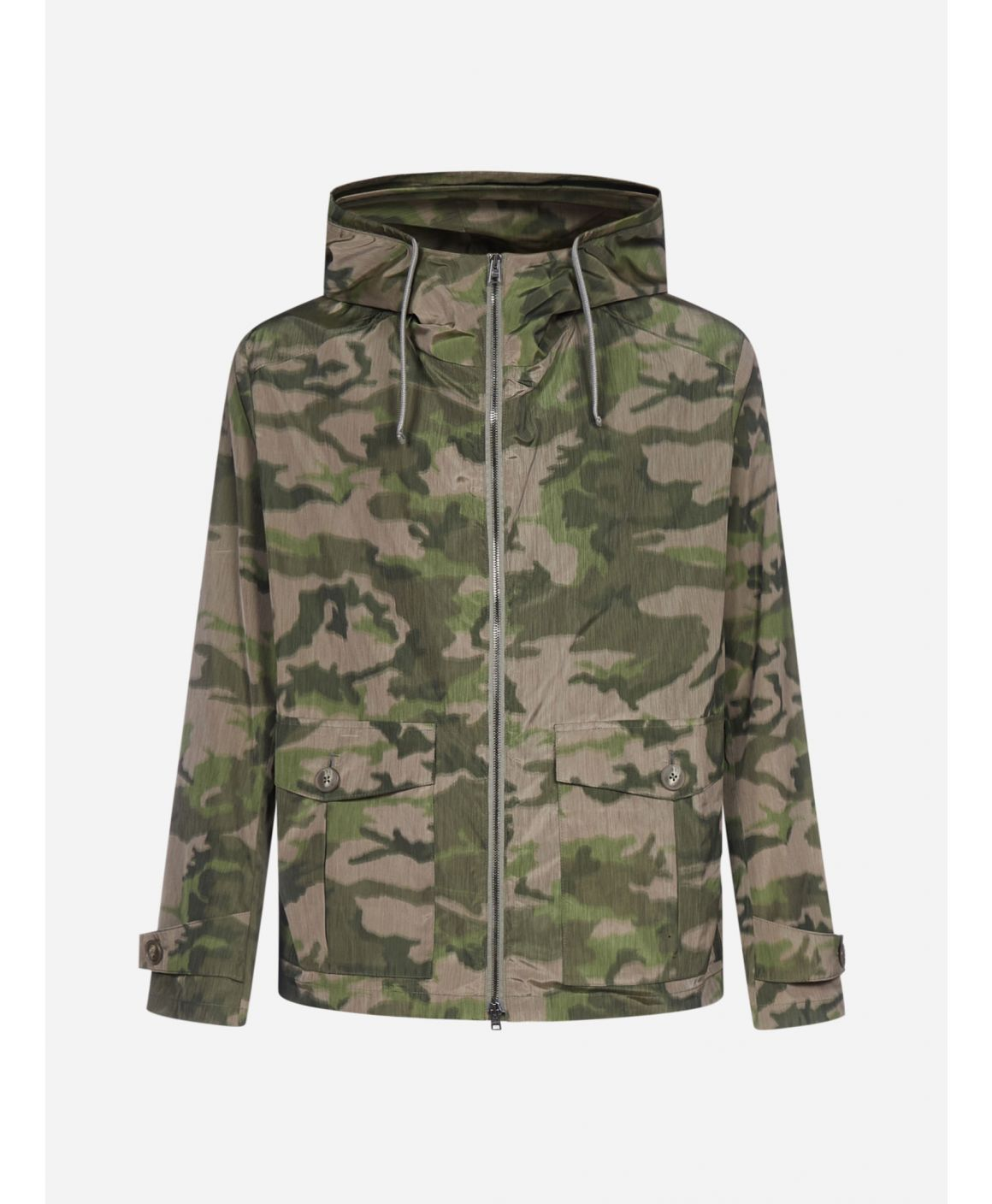 Camou print hooded bomber jacket